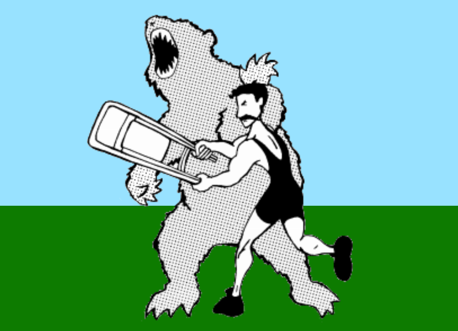 Illustration of an old-timey wrestler hitting a bear with a chair.