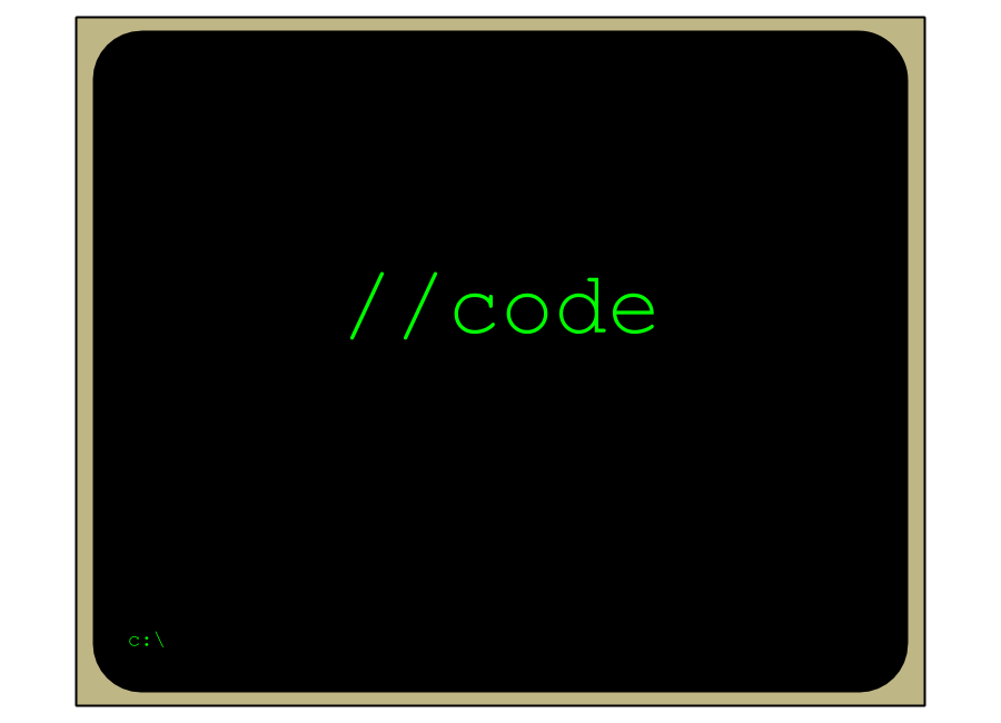 Illustration of a computer terminal with the text, '//code'.